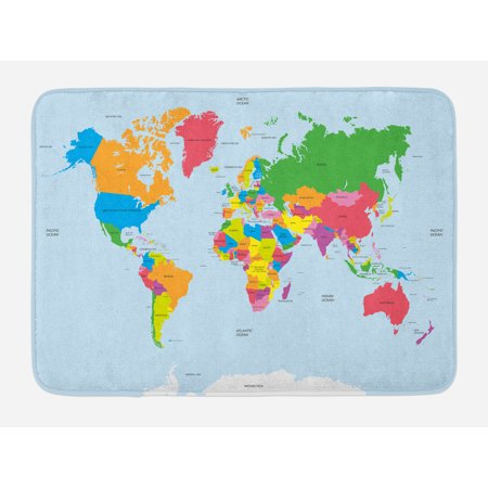 Classical Bath - Map Bath Mat, Classical Colorful Map of World in Political Style Travel Europe America Asia Africa, Non-Slip Plush Mat Bathroom Kitchen Laundry Room Decor, 29.5 X 17.5 Inches, Multicolor, Ambesonne