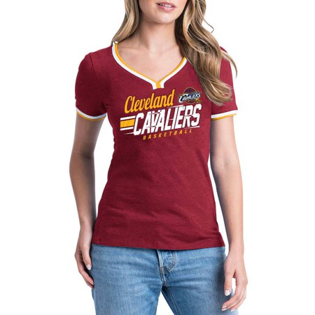 Nba Cleveland Cavaliers Womens Short Sleeve Biblend V Notch Scoop Tee