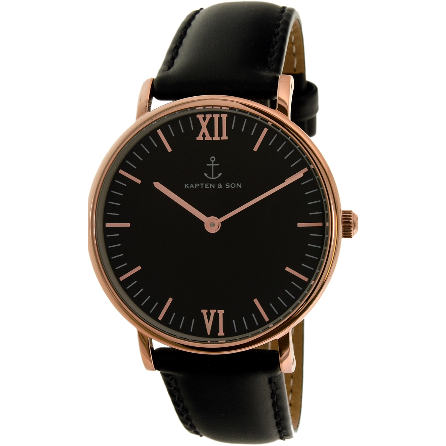 Kapten And Son Women's Campina CAMPINA-BLACK-ALL BLACK-ROSE GOLD-36MM Black Leather Quartz Fashion Watch