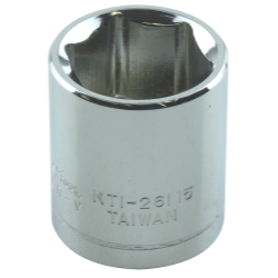 "Chrome Socket, 1/4"" Drive, 15mm, 6 Point, Shallow"