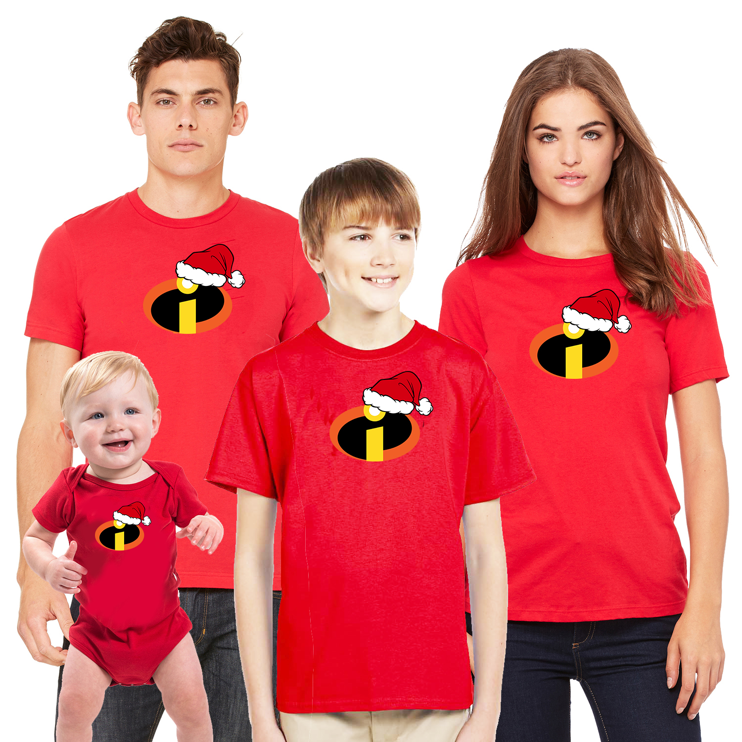 The Incredibles Christmas T-shirt Mens Womens Family Matching (Sold Separately)