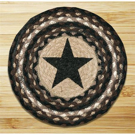 Earth Rugs 80-313BS Black Star Printed Round Swatch