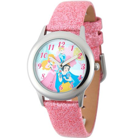 (Disney Snow White Girls' Stainless Steel Case Watch, Pink Glitter Leather Strap)