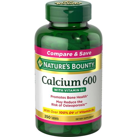 Nature's Bounty Calcium 600 with Vitamin D3 Dietary Supplement Tablets, 250