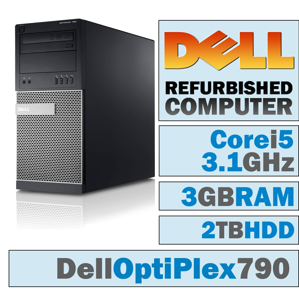 REFURBISHED Dell OptiPlex 790 MT/Core i5-2400 Quad @ 3.1 GHz/3GB DDR3/2TB HDD/DVD-RW/WINDOWS 7 HOME 32 BIT