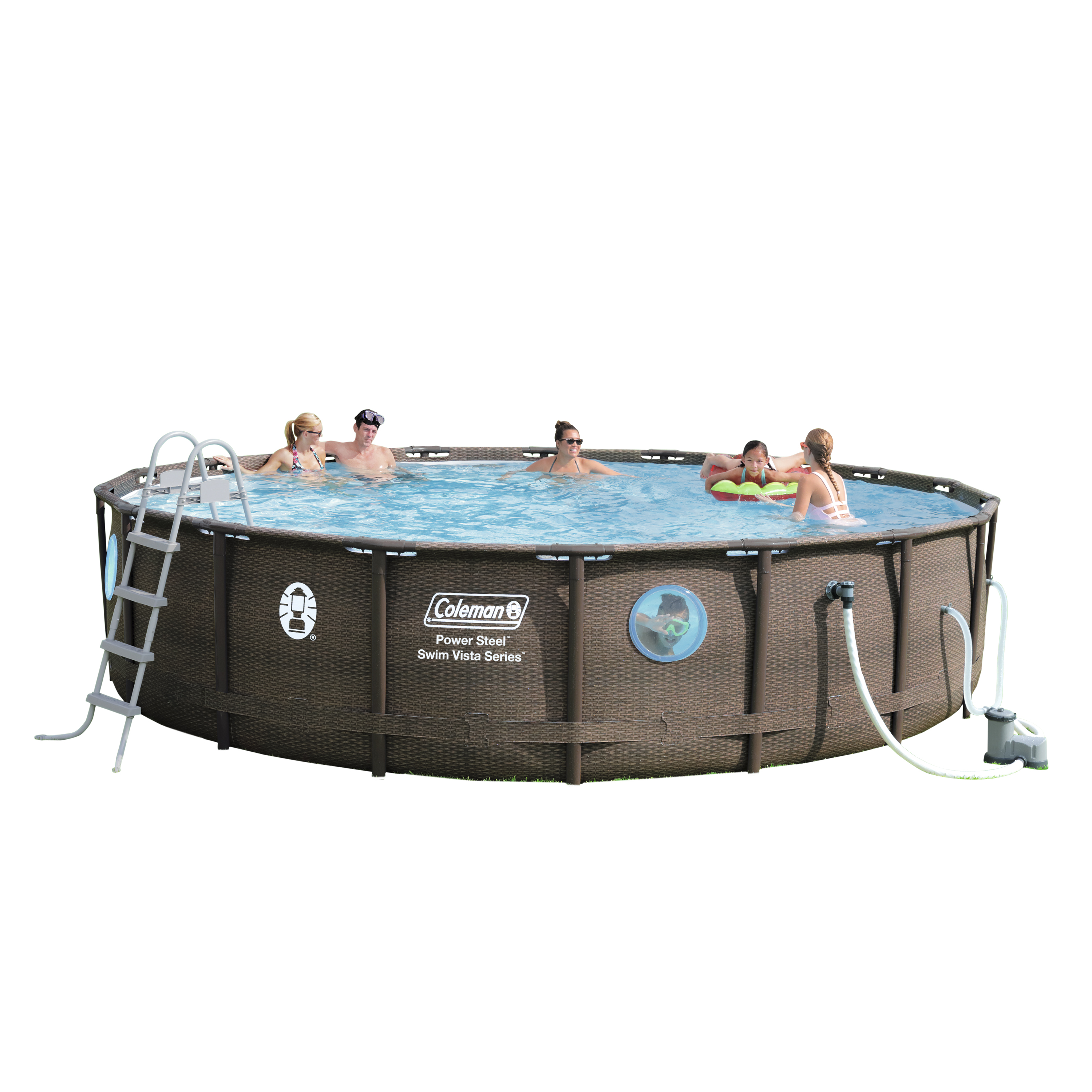 """Coleman Power Steel Swim Vista Series II 18' x 48"""" Frame Swimming Pool Set with Pump, Ladder and Cover"""