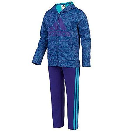 Adidas Girls 2 Piece Set Jacket and Sweatpants Tracksuit (2T, Blue, Purple) NEW