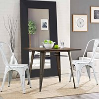 Walnew Set of 4 Distressed Style Stackable Kitchen Dining Bistro Cafe Metal Chairs,Distressed White