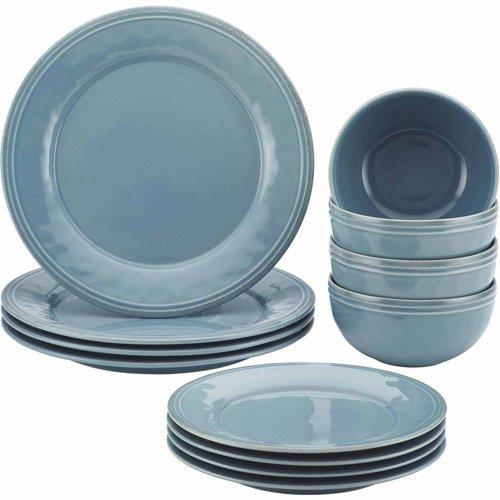 Rachael Ray Cucina 12 Pc Stoneware Dinnerware Set Agave Blue - 51889  sc 1 st  Walmart & Rachael Ray Cucina 12 Pc Stoneware Dinnerware Set Agave Blue ...