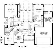 The House Designers: THD-4582 Builder-Ready Blueprints to Build a Craftsman House Plan with Crawl Space Foundation (5 Printed Sets)