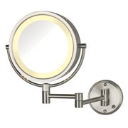 Jerdon HL75ND 8.5-Inch Lighted Direct Wire Wall Mount Makeup Mirror with 8x Magnification, Nickel Finish