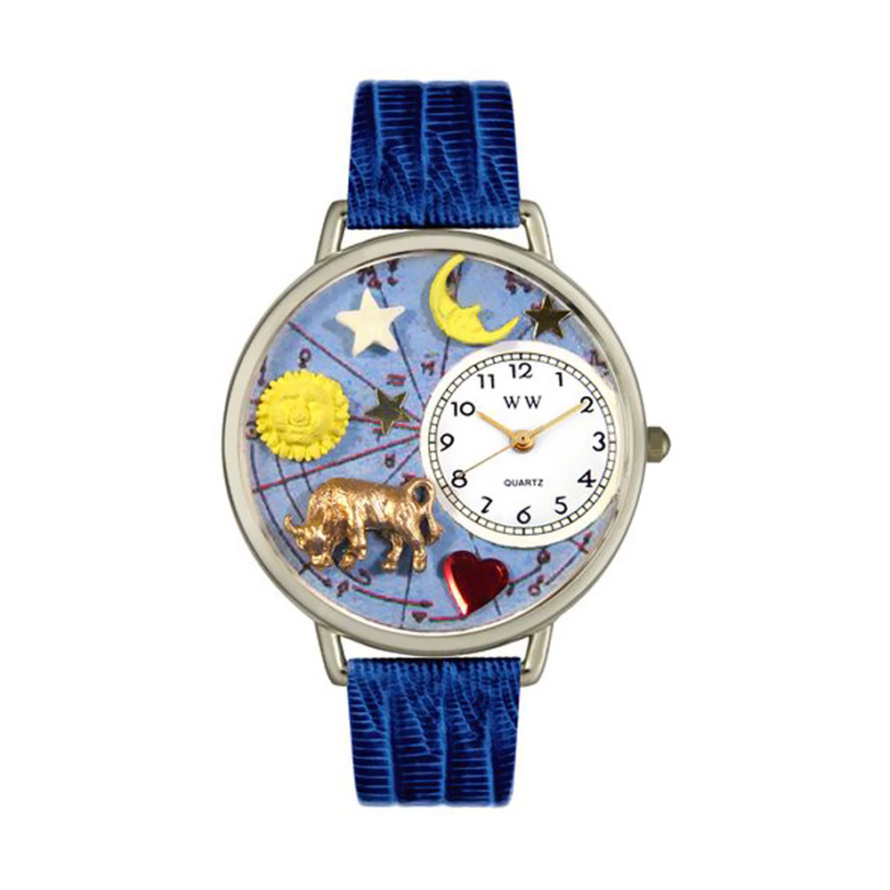 Whimsical Taurus Royal Blue Leather And Silvertone Watch