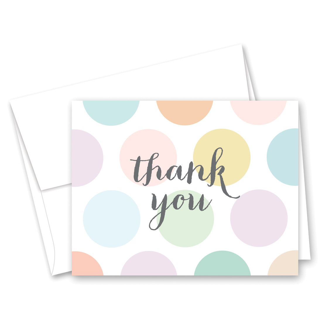 Pastel Polka Dots Baby Shower Thank You Cards And Envelopes 50