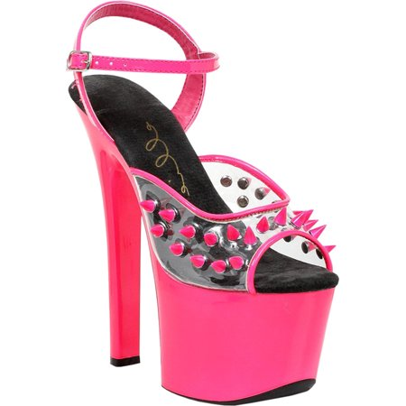 Neon Hot Pink Club Shoes with 7 Inch Heels and Spiked Clear Top Strap ()