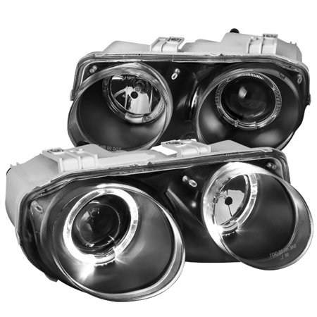 Spec-D Tuning For 1998-2001 Acura Integra Replacement Halo Black Projector Headlights Headlamps (Left+Right) (Acura Integra Halo Headlights)