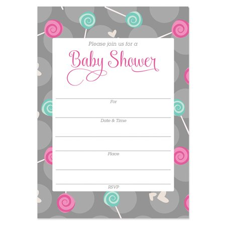 Cute Baby Shower Invitations with Envelopes ( Pack of 25 ) Fill In Candy Gender Reveal Neutral Sip and See Excellent Value Invites by Digibuddha VI0051B - Sip And See Invitations