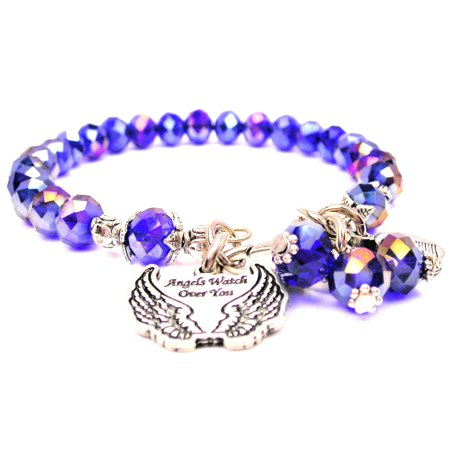 Angels Watch Over You With Wings Splash Of Color Crystal Bracelet in Sapphire Blue , Fits 7.5 wrist, Exclusive ()