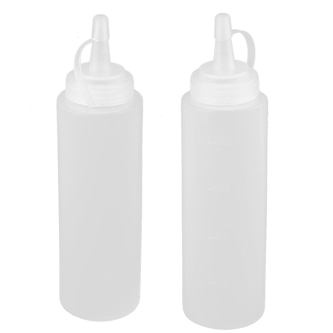 2PCS 500ML 17OZ White Empty Graduated Plastic Squeeze Wash Bottles with Curved Tip Nozzle Water Oil Condiment Sauce Holder Refillable Container Jars Sprinklers Can Pot Dispensers Gardening Tools