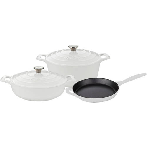 La Cuisine PRO 5-Piece Enameled Cast Iron Cookware Set, Round Casserole by La Cuisine