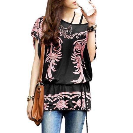 Women Scoop Neck Flower Prints Butterfly Sleeves Tunic Top Black S