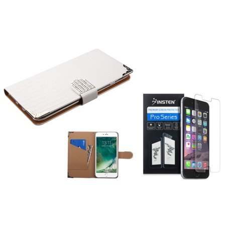 Insten for iPhone 7 - Clear Screen Protector + White Crocodile Skin Wallet Leather Case (with Metal Diamonds Buckle)