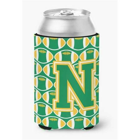 Letter N Football Green & Gold Can or Bottle Hugger - image 1 de 1