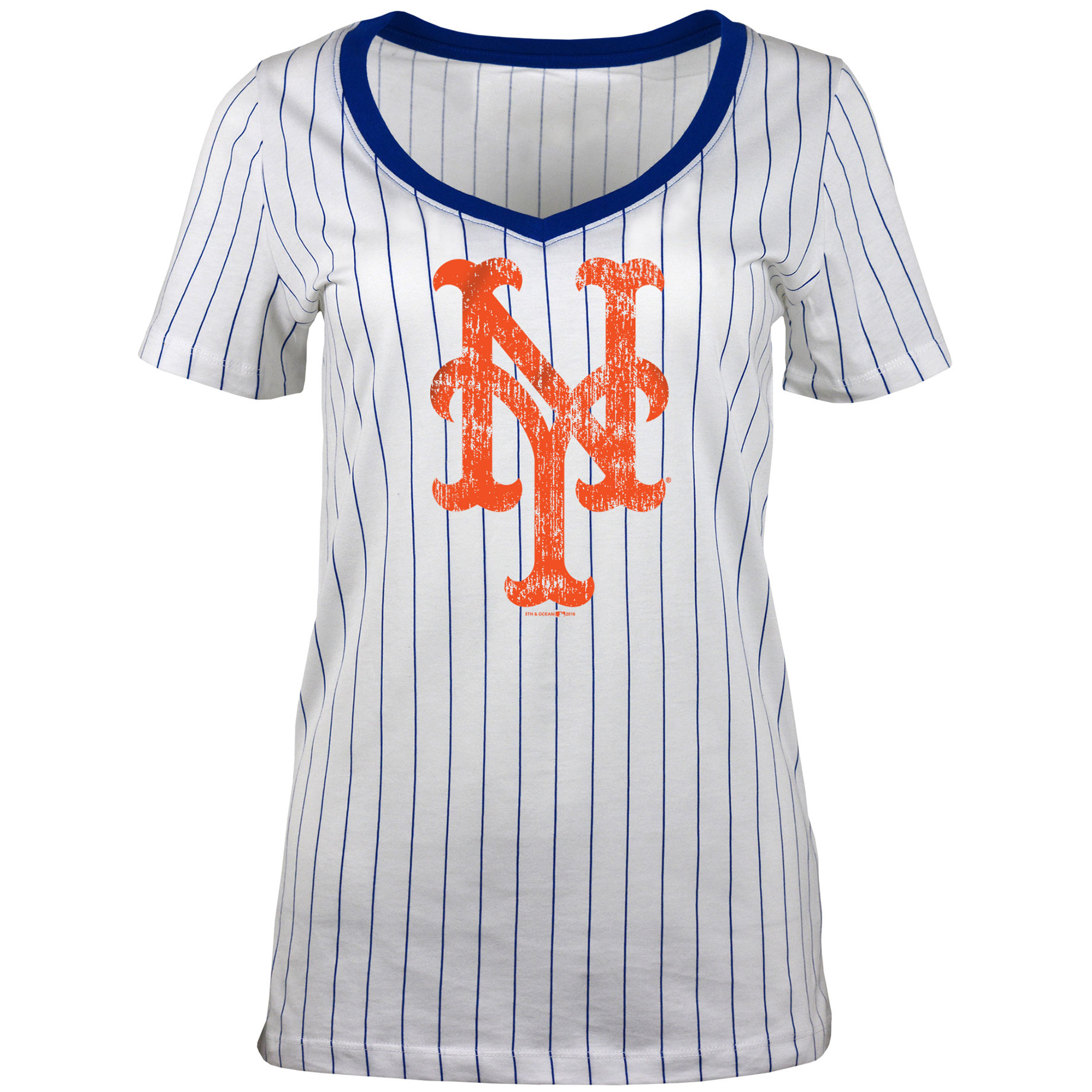 Women's 5th & Ocean by New Era White New York Mets Baby Jersey Pinstripe Ringer T-Shirt