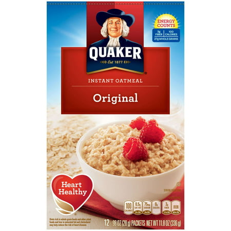 Quaker ® Instant Oatmeal, Original, 12 Count, 0.98 oz. Packets
