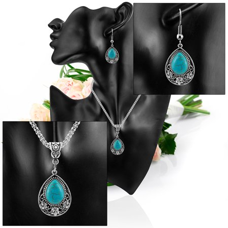 Women Girls Jewelry Ethnic Bohemian Drip Turquoise Pendant Necklace with Flower Trim + Earrings Eardrop Ear Studs Set - image 7 of 8
