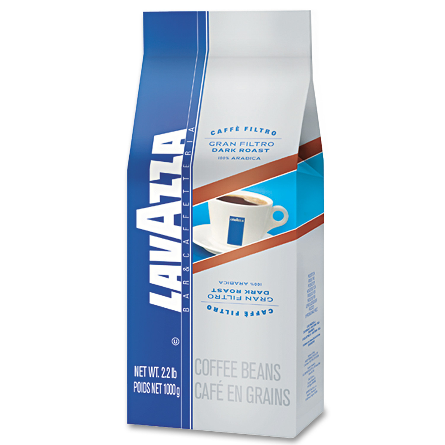 Lavazza Gran Filtro Dark Italian Roast Coffee, Whole Bean, 2.2lb Bag