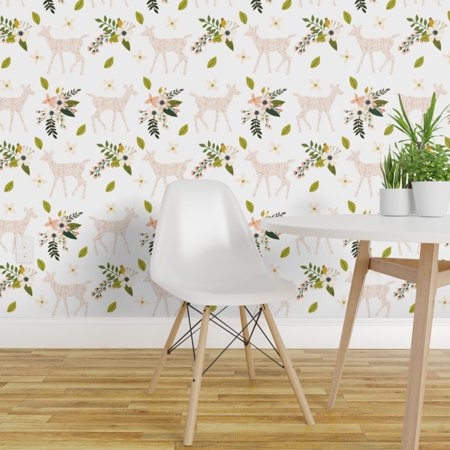 Removable Water Activated Wallpaper Fawn Floral Flowers Pink Girly Woo