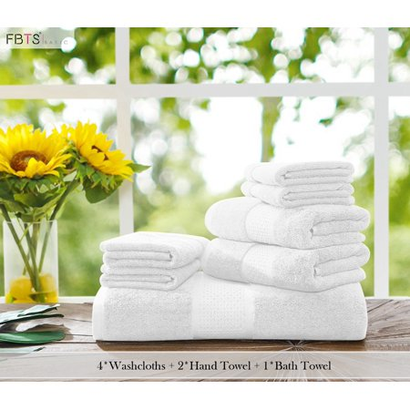 Luxury Pure Cotton 7 Piece Towel Sets (White, 4 Washcloths, 2 Hand Towel, 1 Bath Towel) Highly Absorbent, Extra Soft, Professional Grade, Five-Star Hotel Quality By FBTS Basic