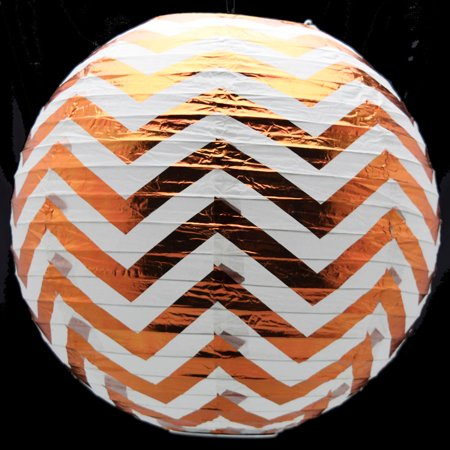 "14"" Copper Chevron Metallic Foil Paper Lantern, Even Ribbing, Hanging"