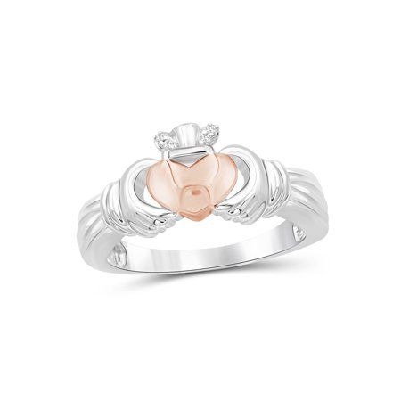White Diamond Accent Two Tone Sterling Silver Claddagh (Sterling Silver Two Tone Ring)
