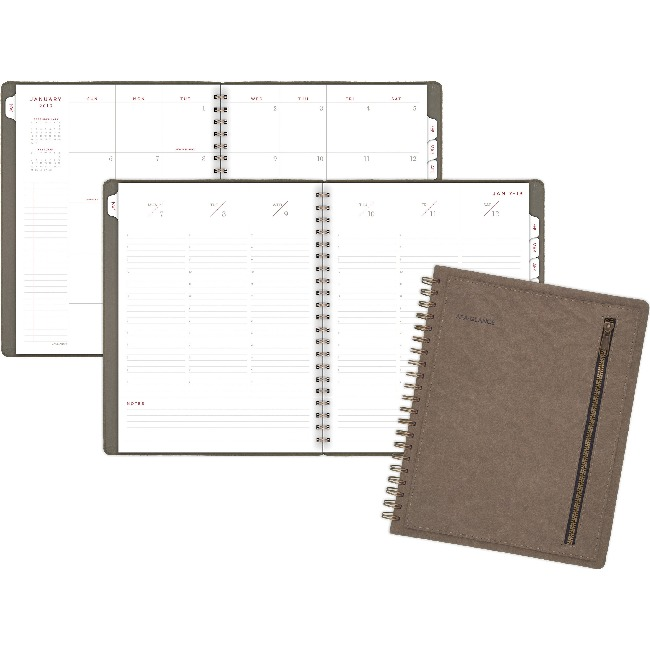 """At-A-Glance Signature Weekly/Monthly Planner - Julian - Weekly, Monthly - 1.1 Year - January till January - 7:00 AM to 7:00 PM - 1 Week, 1 Month Double Page Layout - 8 3/8"""" x 11"""" - Wire Bound - Brown"""