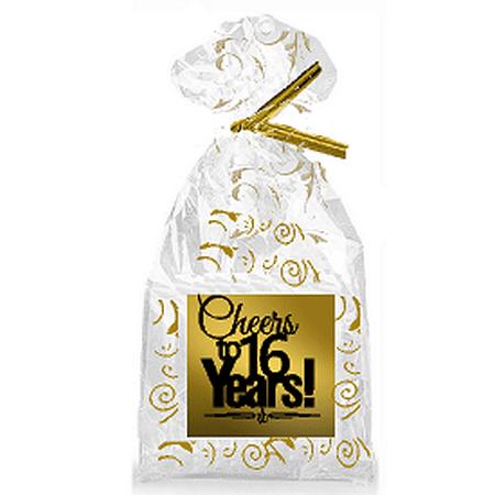 CakeSupplyShop Item#016CTC 16th Birthday / Anniversary Cheers Metallic Gold & Gold Swirl Party Favor Bags with Twist (16th Birthday Gift Box)