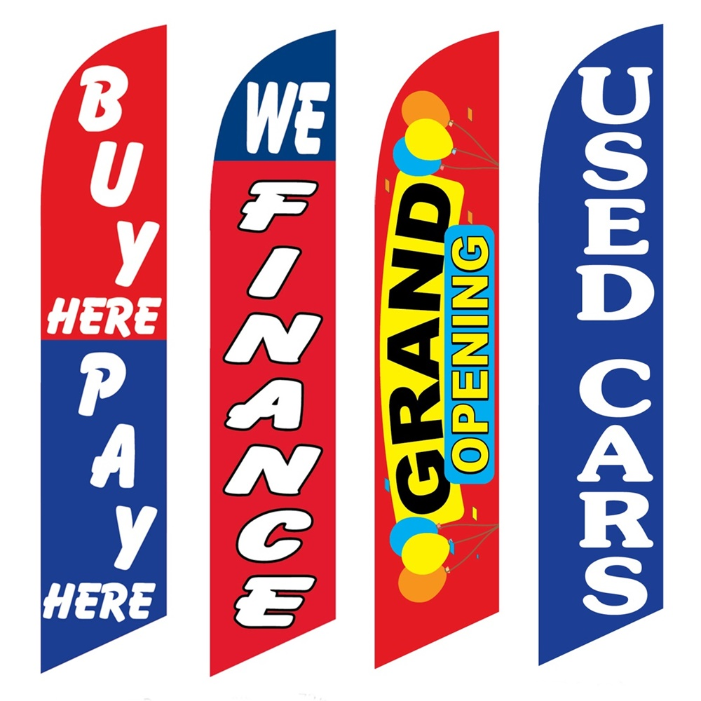 4 Advertising Swooper Flags Buy Pay Here We Finance Grand Opening Used Cars