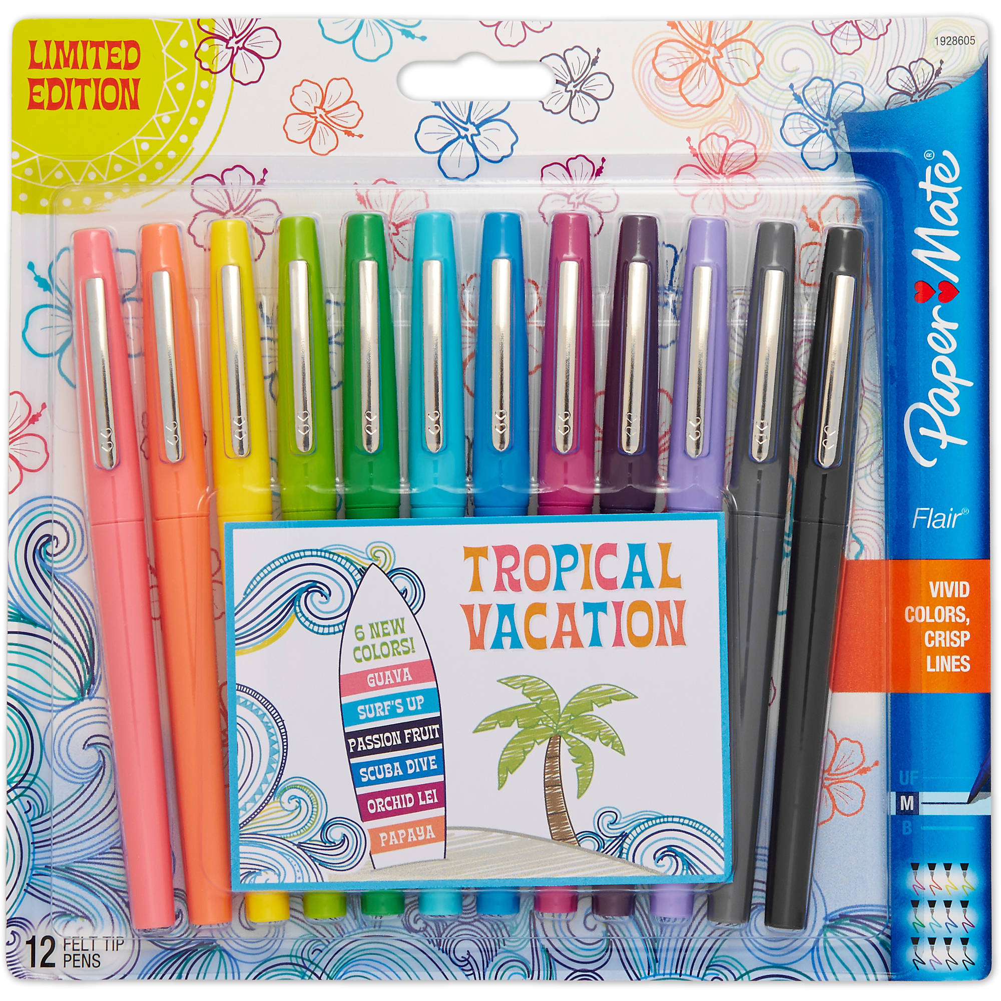 Paper Mate Flair Felt Tip Pens, Medium Point, Limited Edition Tropical & Assorted Colors, 12 Pack