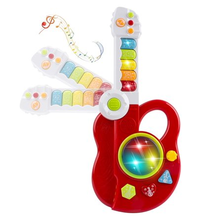 toy electric guitar 3 in 1 with keyboard and jazz drum 3d lights up kids educational musical. Black Bedroom Furniture Sets. Home Design Ideas