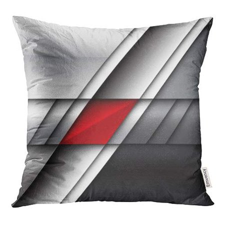 ECCOT Silver Black Abstract Red on Metal Modern Gray Strip Chrome Pillow Case Pillow Cover 16x16 inch