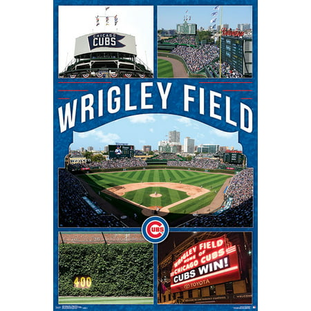 Chicago Cubs™ - Wrigley Field 17 Poster and Poster Clip Bundle Wrigley Field Framed Pictures