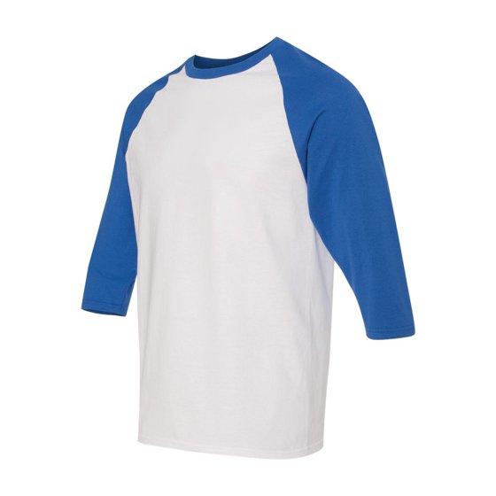 fbc23331 Double-needle stitching on sleeves and bottom hem. Tear away label.  Quarter-turned. Gildan - Heavy Cotton Three-Quarter Raglan Sleeve Baseball  T-Shirt - ...