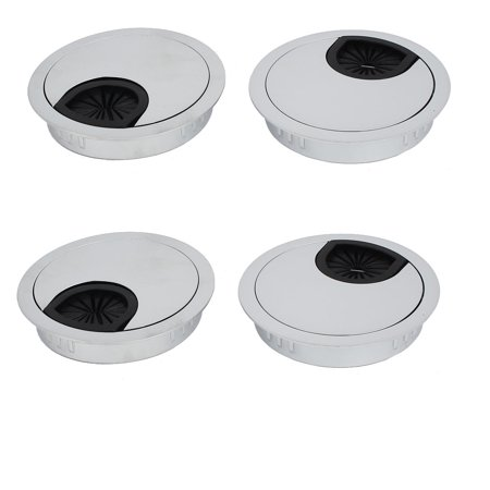 60mm Zinc Alloy Wire Cable Hole Covers Silver Tone 4pcs for Computer Desk Table