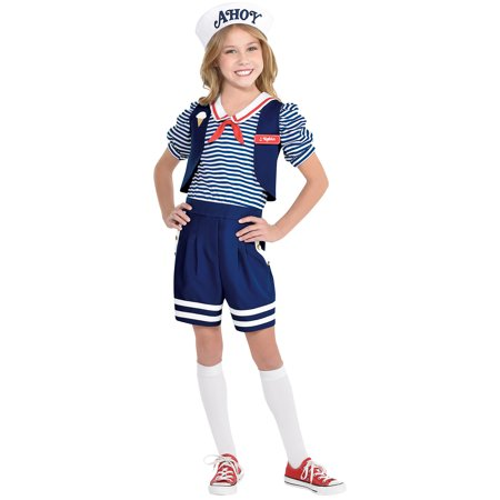 Child Robin Costume (Party City Stranger Things Robin Scoops Ahoy Costume for Children, Includes a Romper, a Hat, and a Name)