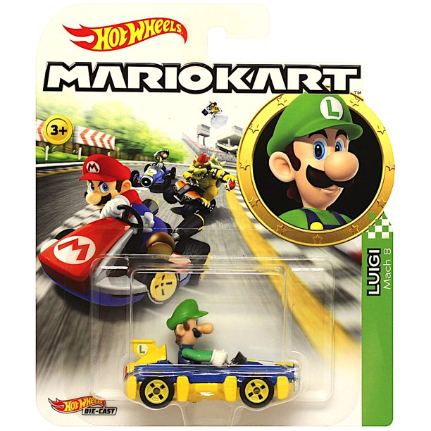 Hot Wheels Luigi Super Mario Kart Character Car Diecast 1 64 Scale