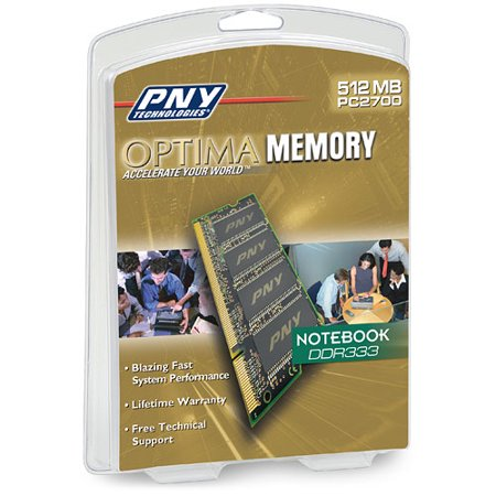 PNY OPTIMA 512MB DDR 333 MHz PC2700 Notebook / Laptop SODIMM Memory Module - Pc 2700 Ddr Sodimm Laptop