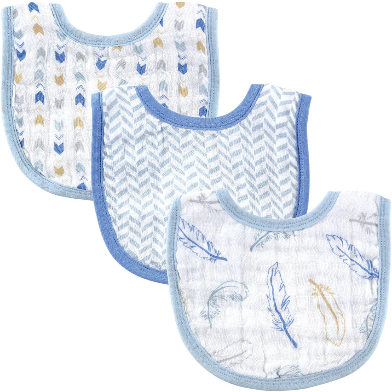 Hudson Baby Boy and Girl Muslin Bib 3 Pack Blue Walmart