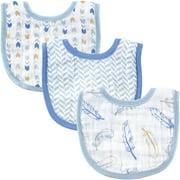 Hudson Baby Boy and Girl Muslin Bib, 3-Pack - Blue