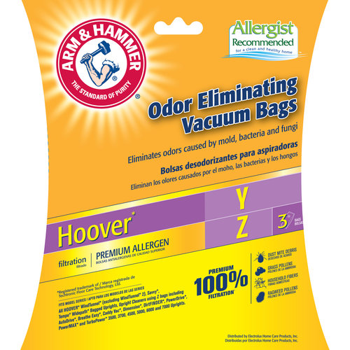Arm & Hammer Premium Filtration Pet Fresh Odor Eliminating Vacuum Bags, Hoover Y&Z Premium, 3 Pack