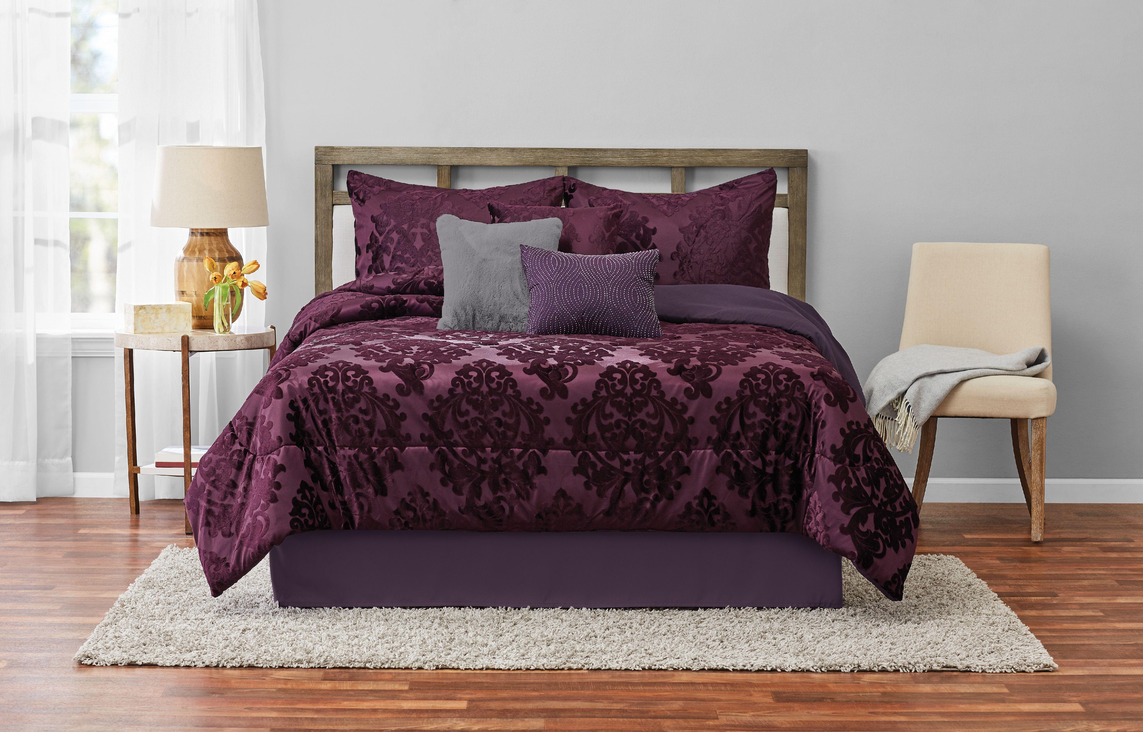 Mainstays Armin Burnout Velvet Damask 7 Piece Comforter Set King Plum Walmart Com Walmart Com